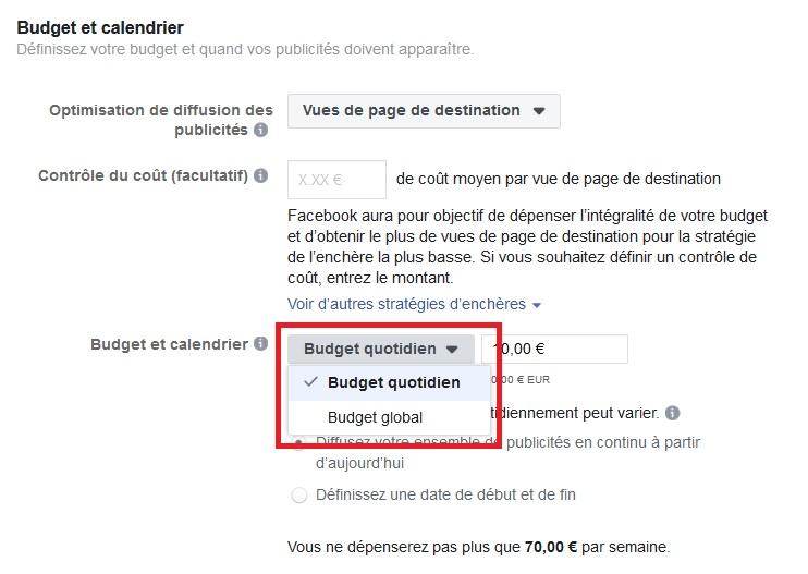 Le choix du Budget publicité Facebook proposé