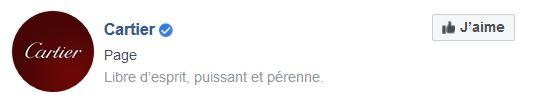 le badge Facebook de la marque Cartier