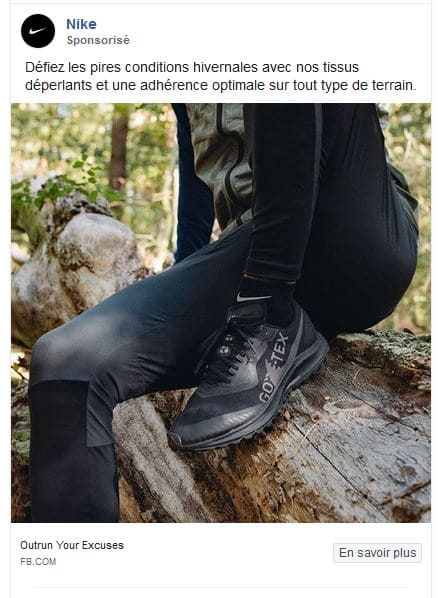 Un exemple tiré du compte publicitaire Facebook de la marque Nike