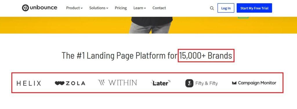 Un exemple de copywriting qui met en avant le nombre de clients