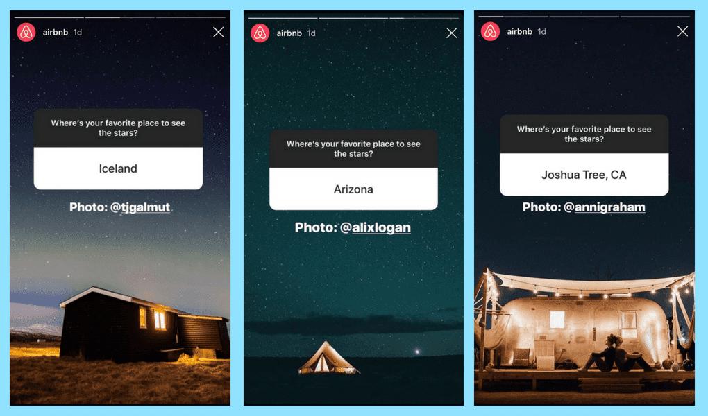 Airbnb utilise très bien Instagram Story pour impliquer sa communauté et collectionneur du contenu