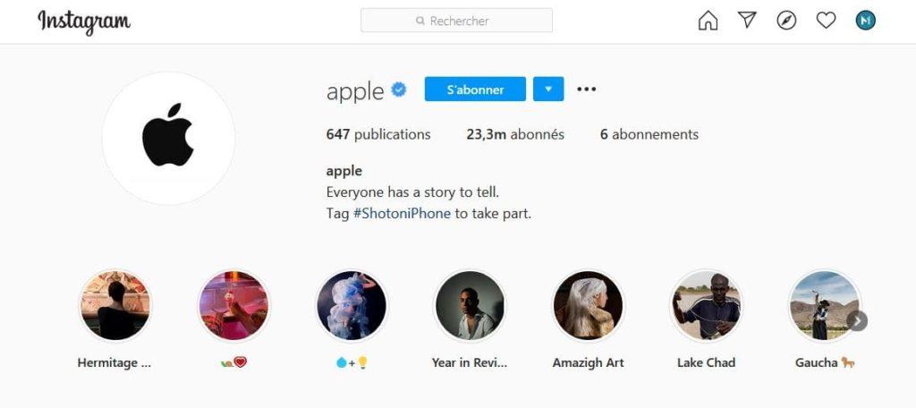 Biographie Instagram d'Apple