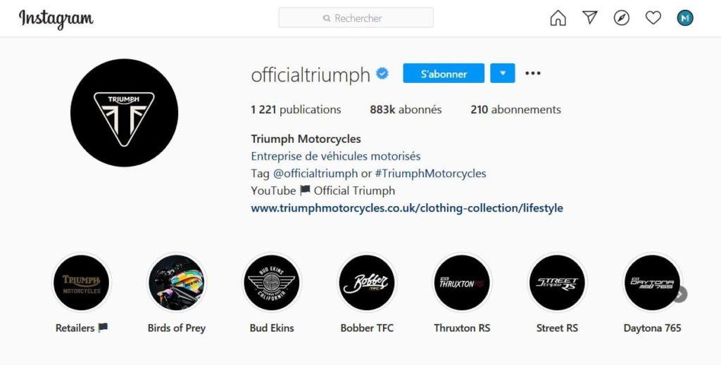 La biographie Instagram de la marque Triumph