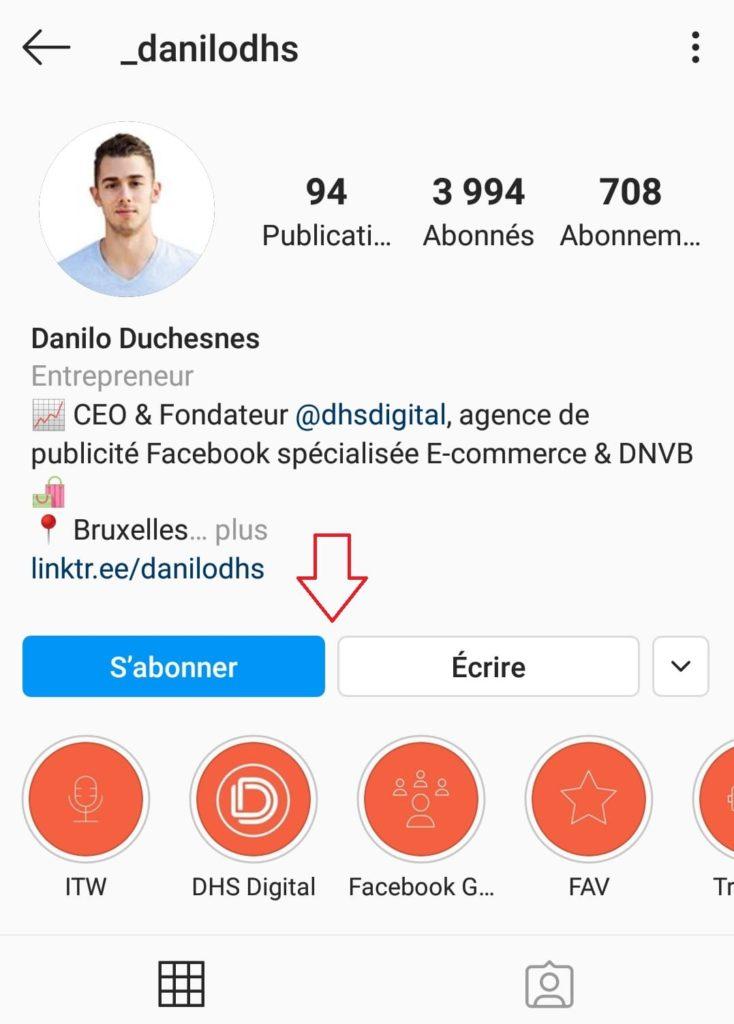 La biographie Instagram de Danilo