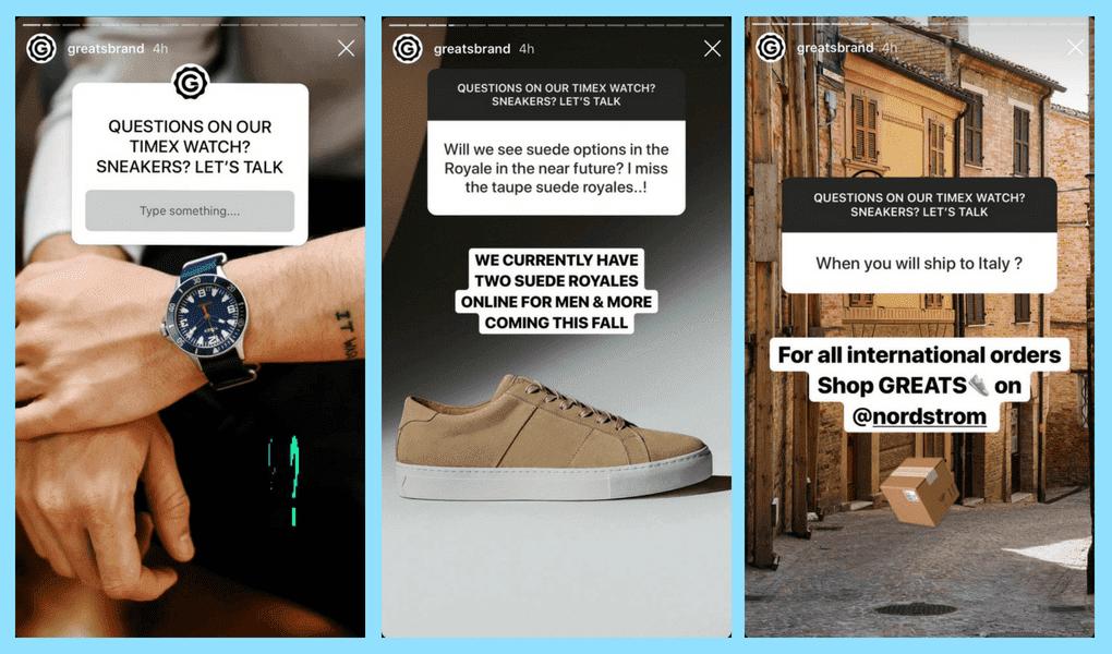 Ici, la grande marque utilise l'histoire Instagram pour répondre aux questions fréquemment posées et fournir des informations supplémentaires.