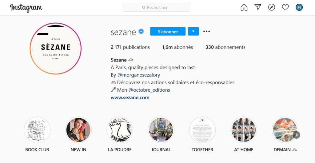 Biographie Instagram de Sezane