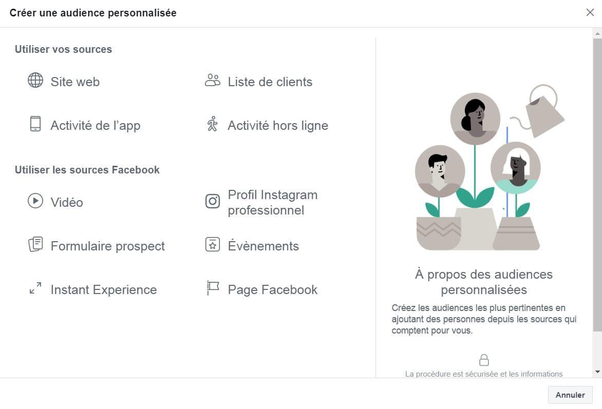 Les audiences personnalisées, autre outil incontournable Facebook Business