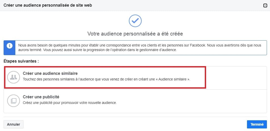 L'audience similaire, disponible uniquement sur Facebook Business