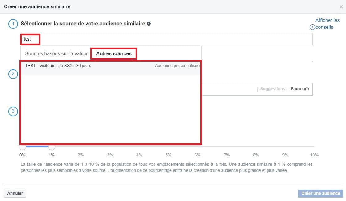 Les sources pour votre audience similaire dans Facebook Business