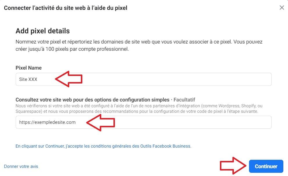 Le nom du pixel Facebook et l'adresse de votre site web