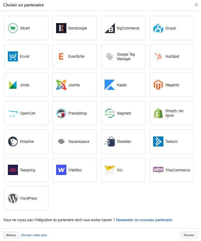 Les plateformes partenaires pour l'intégration du Pixel Facebook
