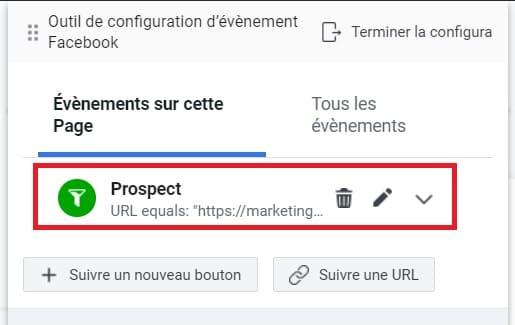 Exemple de l'événement du pixel Facebook Prospect