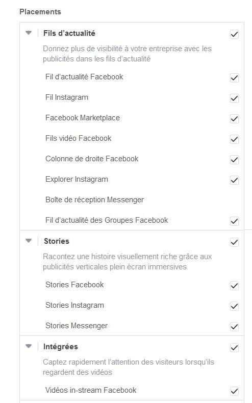 Liste des placements pour votre pub FB