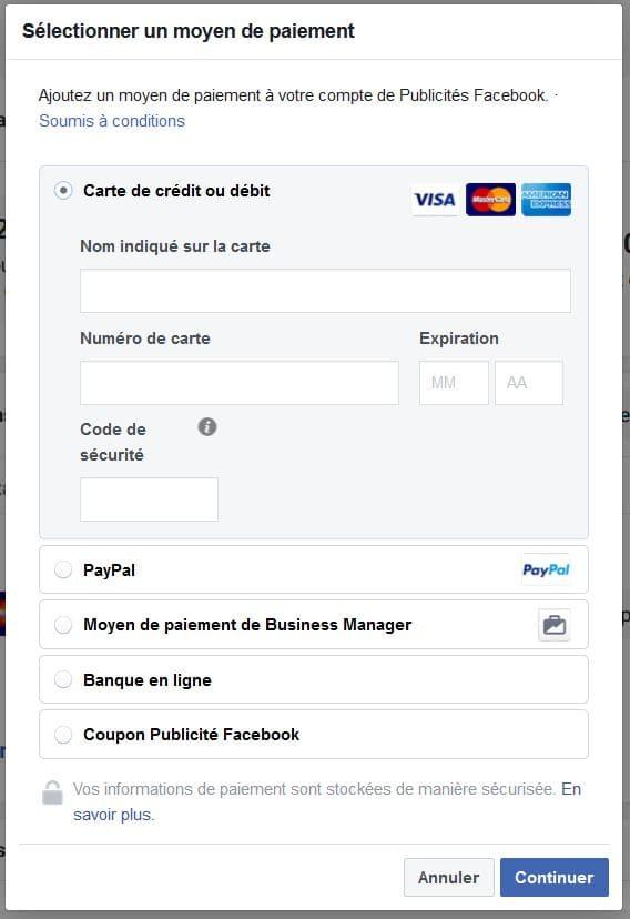 Moyens de paiement du Business Manager