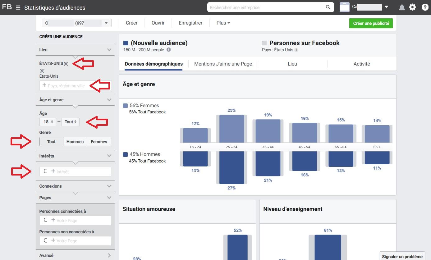 La recherche Facebook par pays, âge, sexe et centre d'intérêt
