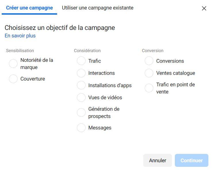 Pas de recherche Facebook à mener au niveau campagne