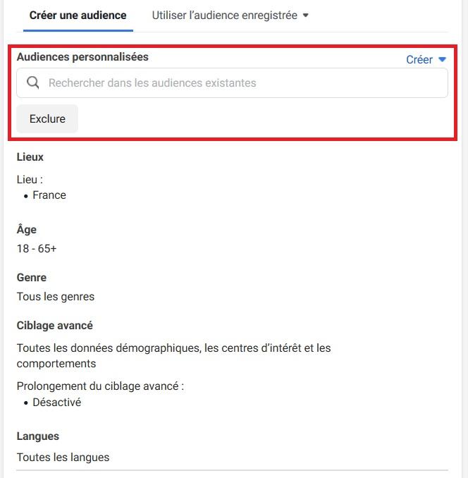 Recherche Facebook et choix d'audience
