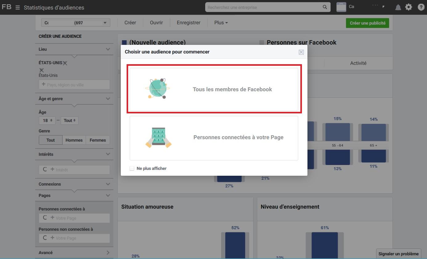 La recherche Facebook sur les membres de la plateforme